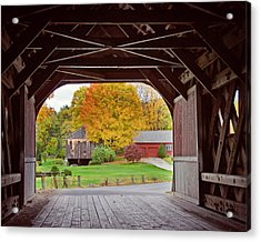 Covered Bridge In Autumn Acrylic Print