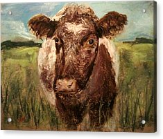 Acrylic Print featuring the painting cow by Jieming Wang