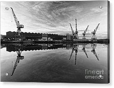 Cranes On The Clyde  Acrylic Print by John Farnan