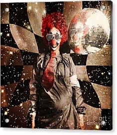 Crazy Dancing Disco Clown On A Psychedelic Trip Acrylic Print by Jorgo Photography - Wall Art Gallery
