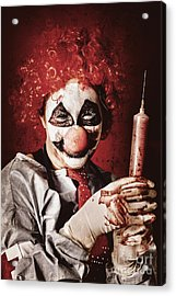 Crazy Medical Clown Holding Oversized Syringe Acrylic Print by Jorgo Photography - Wall Art Gallery