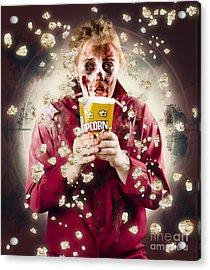 Creepy Possessed Girl Watching Horror Movie Acrylic Print by Jorgo Photography - Wall Art Gallery