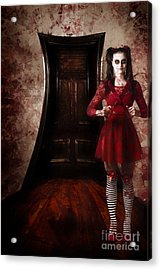 Creepy Woman With Bloody Scissors In Haunted House Acrylic Print