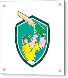 Cricket Player Batsman Batting Shield Cartoon Acrylic Print