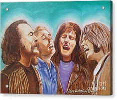 Crosby Stills Nash And Young Acrylic Print by Kean Butterfield
