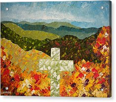 Cross Of The Colorful Ridges Acrylic Print by Ralph Loffredo