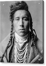 Crow Indian Man Circa 1908 Acrylic Print by Aged Pixel