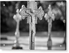 Crucifix At St. Joseph Abbey Acrylic Print by Andy Crawford