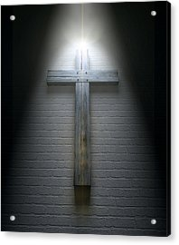 Crucifix On A Wall Under Spotlight Acrylic Print