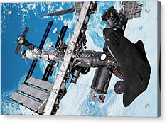 Cruise Shuttle Docked With The Iss Acrylic Print