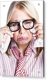 Crying Nerdy Businesswoman Acrylic Print by Jorgo Photography - Wall Art Gallery