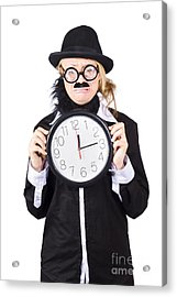 Crying Woman In Disguise Holding Clock Acrylic Print by Jorgo Photography - Wall Art Gallery