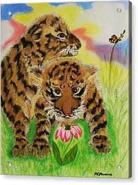 Acrylic Print featuring the pastel Curiosity by Celeste Manning
