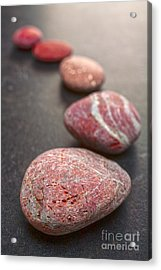Curving Line Of Red And Grey Pebbles On Dark Background Acrylic Print