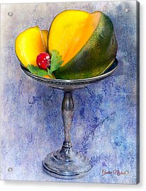 Cut Mango On Sterling Silver Dish Acrylic Print