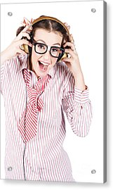 Cute Female Business Nerd Singing With Headphones Acrylic Print by Jorgo Photography - Wall Art Gallery