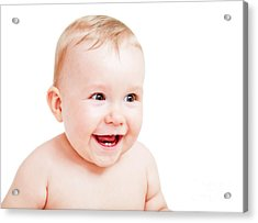 Cute Happy Baby Laughing On White Acrylic Print by Michal Bednarek