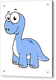 Cute Illustration Of A Brontosaurus Acrylic Print by Stocktrek Images