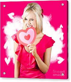 Cute Love Hungry Girl Eating Big Red Heart Acrylic Print by Jorgo Photography - Wall Art Gallery