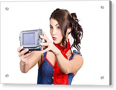Cute Woman Filming Tutorial With Video Camera Acrylic Print by Jorgo Photography - Wall Art Gallery