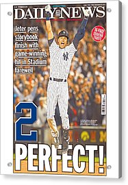 Daily News Front Page Wrap Derek Jeter Acrylic Print by New York Daily News