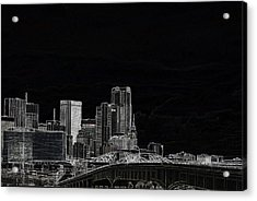 Dallas Skyline In Black - East Acrylic Print