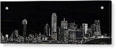 Dallas Skyline In Black Acrylic Print