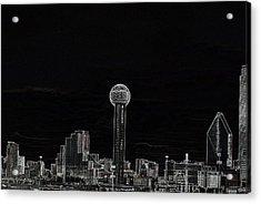 Dallas Skyline In Black- West Acrylic Print