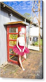 Dancer And Telephone Box Acrylic Print by Jorgo Photography - Wall Art Gallery