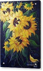 Dancing Sunflowers  Acrylic Print by Eloise Schneider