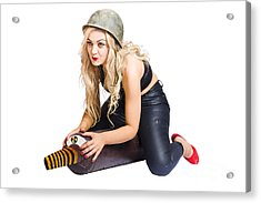 Danger Pin Up Girl Riding On Nuclear Bomb Acrylic Print