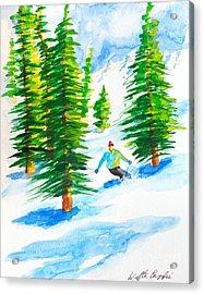 David Skiing The Trees  Acrylic Print
