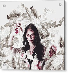 Dead Business Woman In Financial Crisis Debt Acrylic Print by Jorgo Photography - Wall Art Gallery