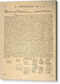 Declaration Of Independence Acrylic Print by Granger