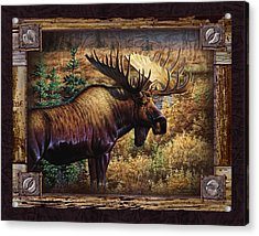 Acrylic Print featuring the painting Deco Moose by Cynthie Fisher