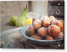 Deep Fried Fritters Donuts Acrylic Print by Mythja  Photography