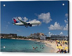 Delta Air Lines Landing At St Maarten Acrylic Print by David Gleeson
