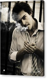 Depressed Business Man Smoking 3 Cigarettes Acrylic Print by Jorgo Photography - Wall Art Gallery