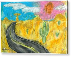 Acrylic Print featuring the pastel Desert Road by Artists With Autism Inc