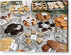 Desserts In Bakery Window Acrylic Print by Elena Elisseeva