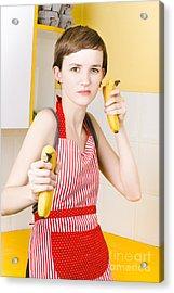 Dietician Shooting Banana Guns In Kitchen Acrylic Print