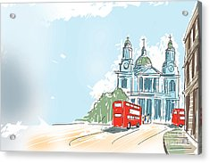 Digital Illustration St Paul Cathedral London Uk Acrylic Print by Jorgo Photography - Wall Art Gallery