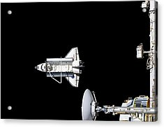 Discovery Departing The Iss Acrylic Print by Nasa/science Photo Library