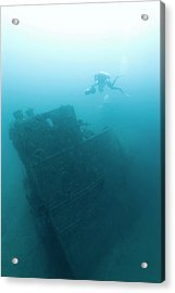 Diver At 'northern Light' Shipwreck Acrylic Print by Noaa