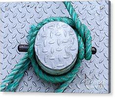Dock Bollard With Green Boat Rope Acrylic Print by Iris Richardson