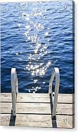 Dock On Summer Lake With Sparkling Water Acrylic Print by Elena Elisseeva