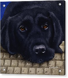Acrylic Print featuring the painting Dog Byte... by Will Bullas