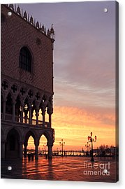 Doges Palace At Sunrise Venice Italy Acrylic Print by Matteo Colombo