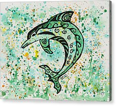 Acrylic Print featuring the painting Dolphin 2 by Darice Machel McGuire