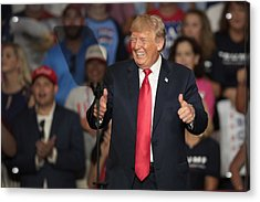 Donald Trump Holds Rally, Campaigns For Troy Balderson, In Ohio Acrylic Print by Scott Olson